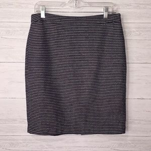 Cynthia Rowley Navy & White Tweed Pencil Skirt-8